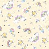 与彩虹的婴孩无缝的样式 免版税库存图片