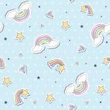 与彩虹的婴孩无缝的样式 库存图片