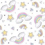 与彩虹的婴孩无缝的样式 免版税库存照片