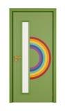 与彩虹的游戏室门 免版税库存照片