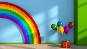 与彩虹的游戏室 库存图片