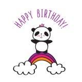 与彩虹的熊猫 库存照片