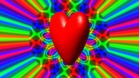 与彩虹的爱心脏挥动无缝的圈fullhd录影 库存例证