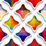 与彩虹的白色波浪长方形在白色无缝的样式 库存例证