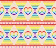 与彩虹的葡萄酒嬉皮无缝的背景,嬉皮标志,荧光的抽象三角五颜六色的样式 皇族释放例证