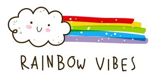 与彩虹的逗人喜爱的小的云彩 库存例证