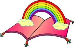 与彩虹的飞行书 免版税库存图片