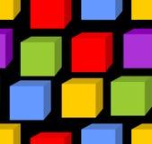 与彩虹立方体样式的无缝的背景 库存图片