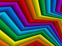 与彩虹纸带的明亮的几何背景 免版税库存图片