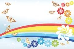 与彩虹, butterfli的抽象春天背景 免版税库存图片