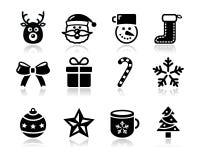与影子的圣诞节黑色图标设置了-圣诞老人,前 免版税库存图片