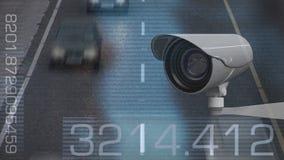 与很多交通的安全监控相机 向量例证