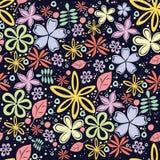 与很多小的花的无缝的花卉样式在黑背景 库存照片