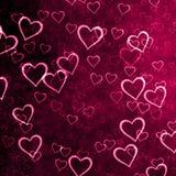 与很多心脏的紫色背景 免版税库存图片