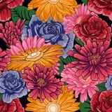 与很多花的无缝的样式在黑背景 图库摄影