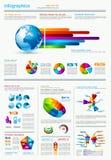 与很多设计要素的Infographics页 免版税库存照片