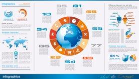 与很多设计要素的Infographics页 免版税库存图片