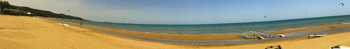 与很多od风筝冲浪者的狂放的海滩 库存图片