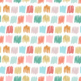 与徒手画的正方形的原始无缝的样式 孩子织品的,纺织品,生日贺卡秋天简单的纹理 免版税库存图片