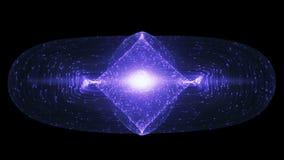 与循轨道运行在托卡马克或油炸圈饼形设备附近的发光的轻的微粒的抽象设计 向量例证