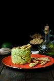 与微型grissini,静物画的鲕梨Hummus 免版税库存照片