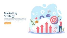 与微小的人字符的数字营销策略概念 在现代平的设计模板的网上电子商务事务网的 库存例证