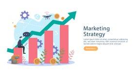 与微小的人字符的数字营销策略概念 在现代平的设计模板的网上电子商务事务网的 向量例证