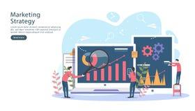 与微小的人字符,桌,在显示器的图表对象的数字营销策略概念 网上社会媒介 向量例证