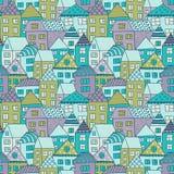 与微小的房子和树的逗人喜爱的动画片样式 与手拉的镇的手拉的无缝的装饰品 免版税库存图片