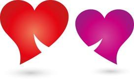 与微笑、人和夫妇商标的两心脏 免版税库存照片