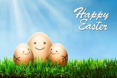 与微笑图画的三个复活节彩蛋 库存图片