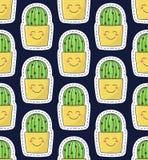 与微笑的仙人掌在罐五颜六色的逗人喜爱的无缝的传染媒介样式 库存图片