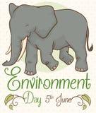 与微笑的大象的海报为环境天,传染媒介例证 皇族释放例证