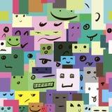 与微笑的正方形的无缝的纹理 免版税图库摄影