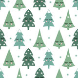 与微笑的睡觉xmas树和雪花的无缝的样式 免版税库存照片