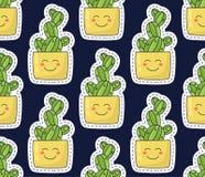 与微笑的逗人喜爱的仙人掌在它的锅贴样式无缝的传染媒介样式 库存图片