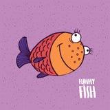 与微笑的逗人喜爱的鱼在手工制造动画片样式 皇族释放例证