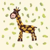 与微笑的长颈鹿 图画父亲儿子 库存照片