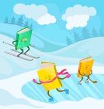 与微笑的面孔滑雪的被赋予人性的书字符, 库存例证