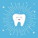 与微笑的面孔的健康牙象 逗人喜爱的漫画人物 圆的线圈子 口头牙齿卫生学 儿童牙关心 发光 库存例证