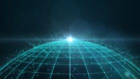 与微粒和多角形的Wireframe地球 库存图片