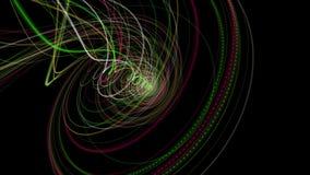 与微粒条纹对象的未来派动画和在慢动作, 4096x2304圈4K的眨眼睛光