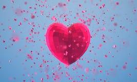 与微粒的多角形心脏在蓝色背景 免版税图库摄影