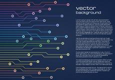 与微集成电路的五颜六色的元素的抽象技术蓝色背景 电路板背景纹理 库存例证