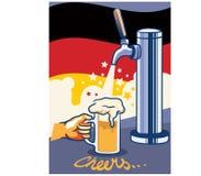与德国旗子流行艺术海报的啤酒轻拍 库存例证