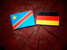 与德国旗子的刚果民主共和国旗子在树 库存照片