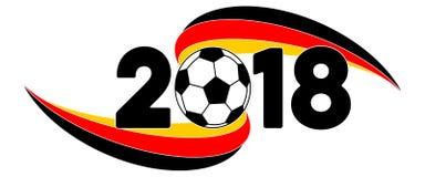 与德国旗子的足球2018年横幅 库存照片