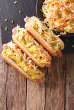 与德国泡菜和芥末接近的热狗 垂直的顶视图 库存照片