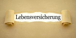与德国词的文书工作生命保险政策的- Lebensversicherung 免版税库存图片