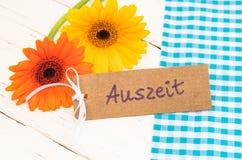 与德国词, Auszeit,手段暂停的礼品券或放松 库存照片